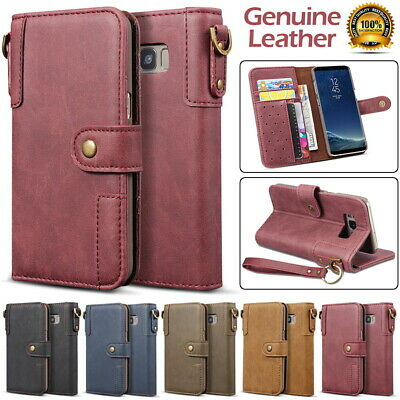 Cowhide Genuine Leather Wallet Flip Case Cover for Samsung S9 S8 Plus S7 S6 Edge
