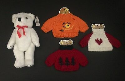 """Lot of 12"""" White Bear Plush & 3 Sweaters (Holiday Halloween Christmas) NEW"""