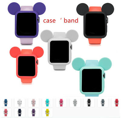 Mickey Mouse Silicone Sport Case Band for Apple Watch IWatch Case 42mm 44 38 40