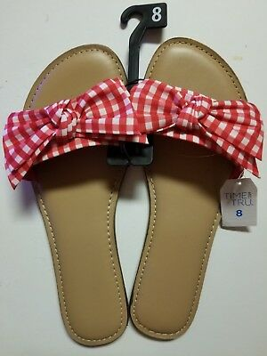 fb09fd485b9cfb Time   Tru Womens Bow Slide Sandal Red Checkered Picnic Spring Country Sizes  6-9