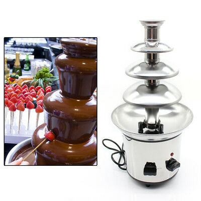 Commercial Stainless Steel Party Luxury Hot Chocolate Fondue Fountain 4 Tier USA