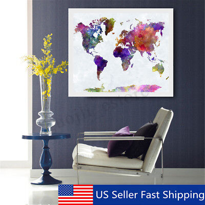 Unframed World Map Oil Painting Canvas Print Modern Wall Picture Home Decor