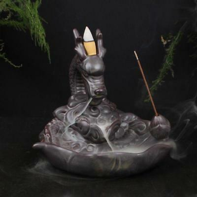 AU Ceramic Incense Burner Holder Dragon Cone Smoke Backflow Censer Home Decor