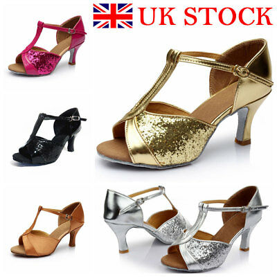 UK Womens Sequin Kitten Heels Ladies Peep Toe Sandals Latin Tango Shoes Size