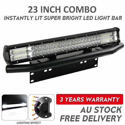23 inch CREE LED Light Bar Combo+Number Plate Frame Mount Bracket Bull Bar Black