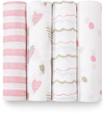 Aden + Anais CLASSIC SWADDLE - 4 PACK - HEART BREAKER Baby BNIP