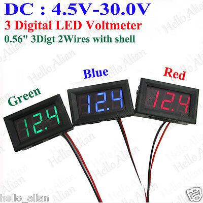 DC 4.5V-30.0V 3-Digital LED Voltmeter Voltage Guage Meter 5V 12V 24V Car Battery