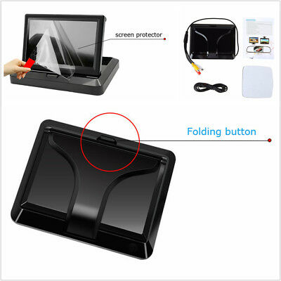 HD 5inch Auto Car Reverse Rear View Foldable TFT LCD Monitor For Cameras DVD VCR