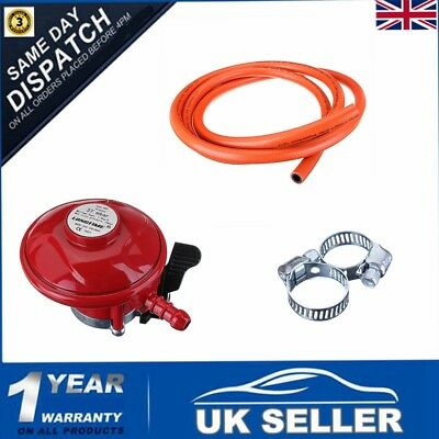 37mbar Complete BBQ Cooker Kit Propane Regulator Gas Hose Clips Heater Stove Set