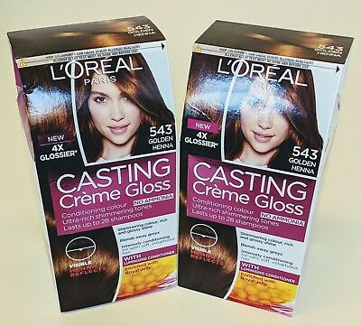 2x L Oreal Casting Creme Gloss 543 Golden Henna Hair Colour New