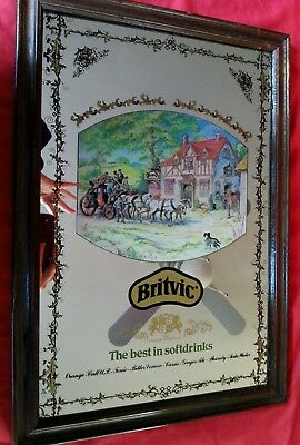 "Vintage BRITVIC Pub Mirror 19.5"" x 13.5"" Man cave THE BEST IN SOFT DRINKS"
