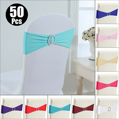 50pcs Spandex Chair cover Bands with Buckle Party Wedding Banquet Decor 9 Colors