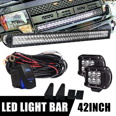 """40inch Curved Led Light bar +2X 4"""" CREE Work Pods Offroad Ford Jeep SUV Truck 42"""