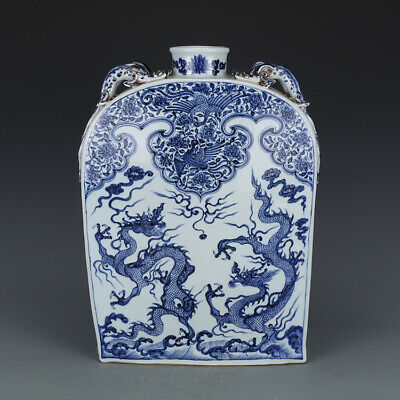 Large Chinese Yuan Blue and White Dragons Porcelain Beast ears Square Flat Vase