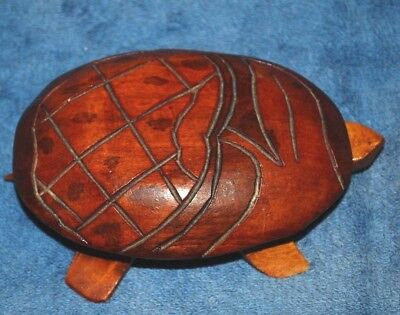 Hand Carved Solid Wood TURTLE Trinket Box Jewelry 5.5""