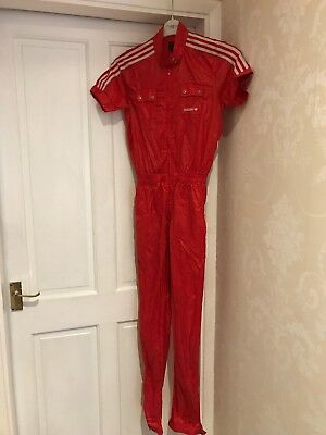 Rare Adidas Red Polyester Jumpsuit Dance Sports Festival Street