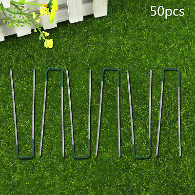 WE 50X U PINS GREEN GRASS TURF GALVANISED Iron PEGS STAPLES WEED HOOKS Accessory