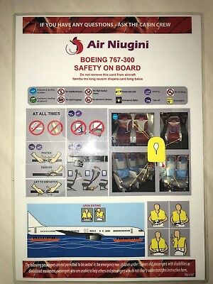 Air Niugini Airline Safety Card Boeing 767-300 GREAT CONDITION!