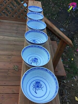 Vintage Chinese Blue White Porcelain Translucent Rice Grain Pattern Rice Bowls