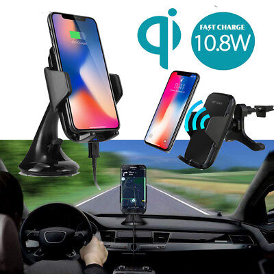 QI Wireless Car Charger Phone Mount Holder For Samsung S9 S8 Plus S6 S7 Edge