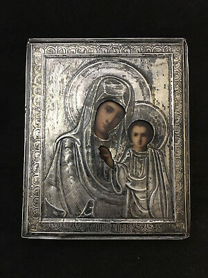 Antique Hand Painted Solid silver Icon Virgin of Kazan 19 th. century