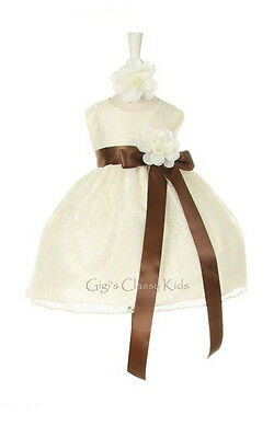 New Baby Flower Girls Dress Ivory Lace Design Build Your Color Ribbon Party 1132