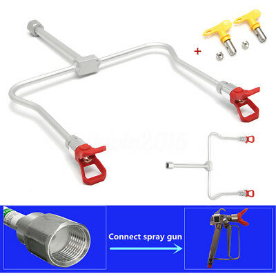 Airless Paint Spray Gun Extension Pole Double Nozzle Tips for sealing atomizing