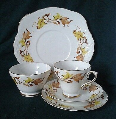 Royal Sutherland Bone China Tea Set Yellow & Brown Staffordshire Fine Bone China
