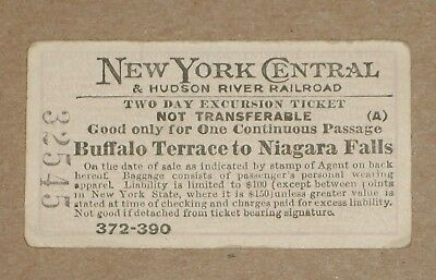 ***1910 New York Central & Hudson River Railroad 2-Day Excursion Ticket**