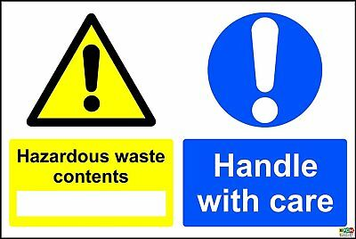 Hazardous Waste Contents Handle With Care COSHH Safety Sign - sticker 200x150mm