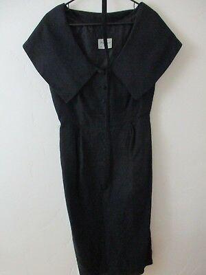 M-L 1950's Jay Herbert Dress black Vintage belt semi sheer pin up tiny waist