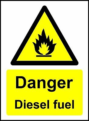 Danger Diesel Fuel Safety Sign - Self adhesive sticker 100mm x 75mm