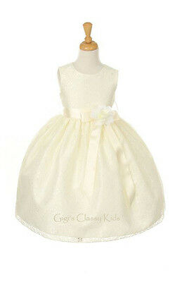New Flower Girls Ivory Dress Lace Design Build Your Color Ribbon Pageant 1132C