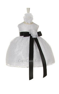 New Baby Flower Girls Dress White Lace Design Build Your Color Ribbon Party 1132
