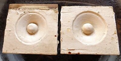 Lot of 2 Antique Rosette Wood Door Bullseye Plinth Blocks, Architectural Salvage