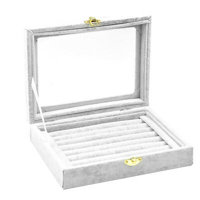 Velvet Glass Jewelry Box Ring Display Organizer Tray Holder Earring Case Grey