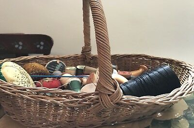 Antique Basket With Vintage Sewing Notions Included - Eastern PA Origin