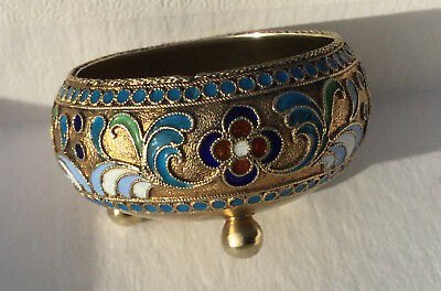 Antique Russian Imperial Cloisonné Enamel And Silver Gilt Salt Dish