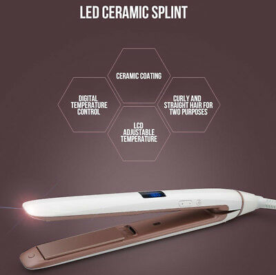 Pro hair straightener iron LED display ceramic coating plate ionic curling