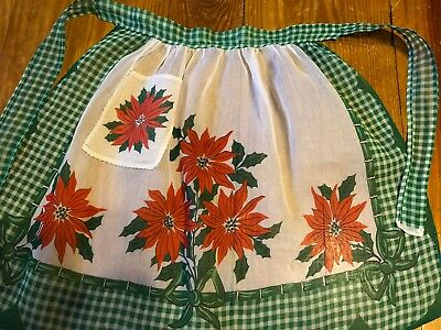 VINTAGE Country Xmas sheer half apron red poinsettias green checked hand made
