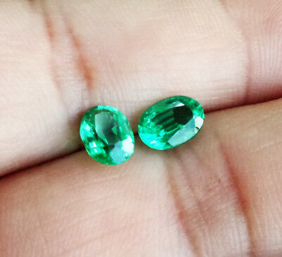 Pair! 2.20CTS OAVL 7X5MM. Excellent Cut GREEN EMERALD TOP IF COLOR AAA++