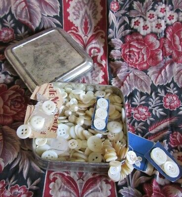 Full tin antique French vintage Mother of Pearl MOP Buttons 100's++++ PROJECTS