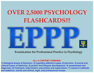 EPPP Printable Digital Psychology Flashcards (over 2500 cards on all 8 domains!)