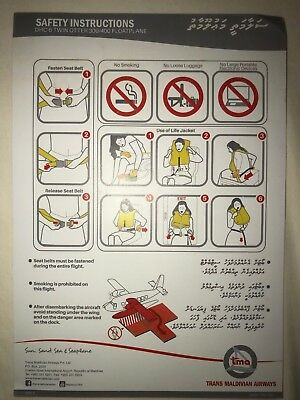 Trans Maldivian Airlines DHC-6 Twin Otter 300/400 FloatPlane Safety Card