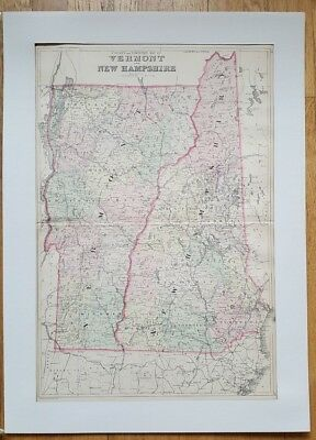 ANTIQUE COLORED MAP - COUNTY & TOWNSHIP OF VERMONT AND NEW HAMPSHIRE ca 1880