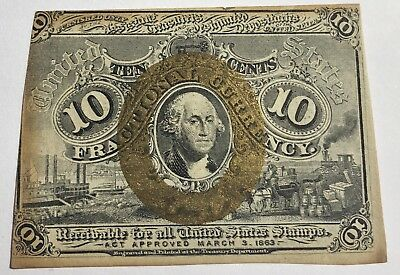 1863 10 Cent Fractional Currency Postage Note