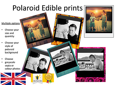 YOUR OWN EDIBLE POLAROID cake topper, personalised photo, Quality ICING OR WAFER