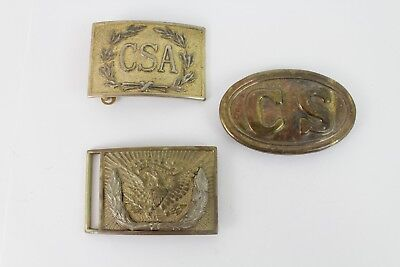 Lot of 3 Vintage Reproduction Civil War Brass Belt Buckles