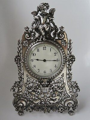 Silvered Strutt Clock (Pewter stand) Fine quality, c1900 Excellent working order