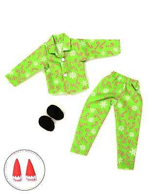 Christmas Elf Clothes Green Candy Cane Pajamas Lot W/Shoes New For On The Shelf
